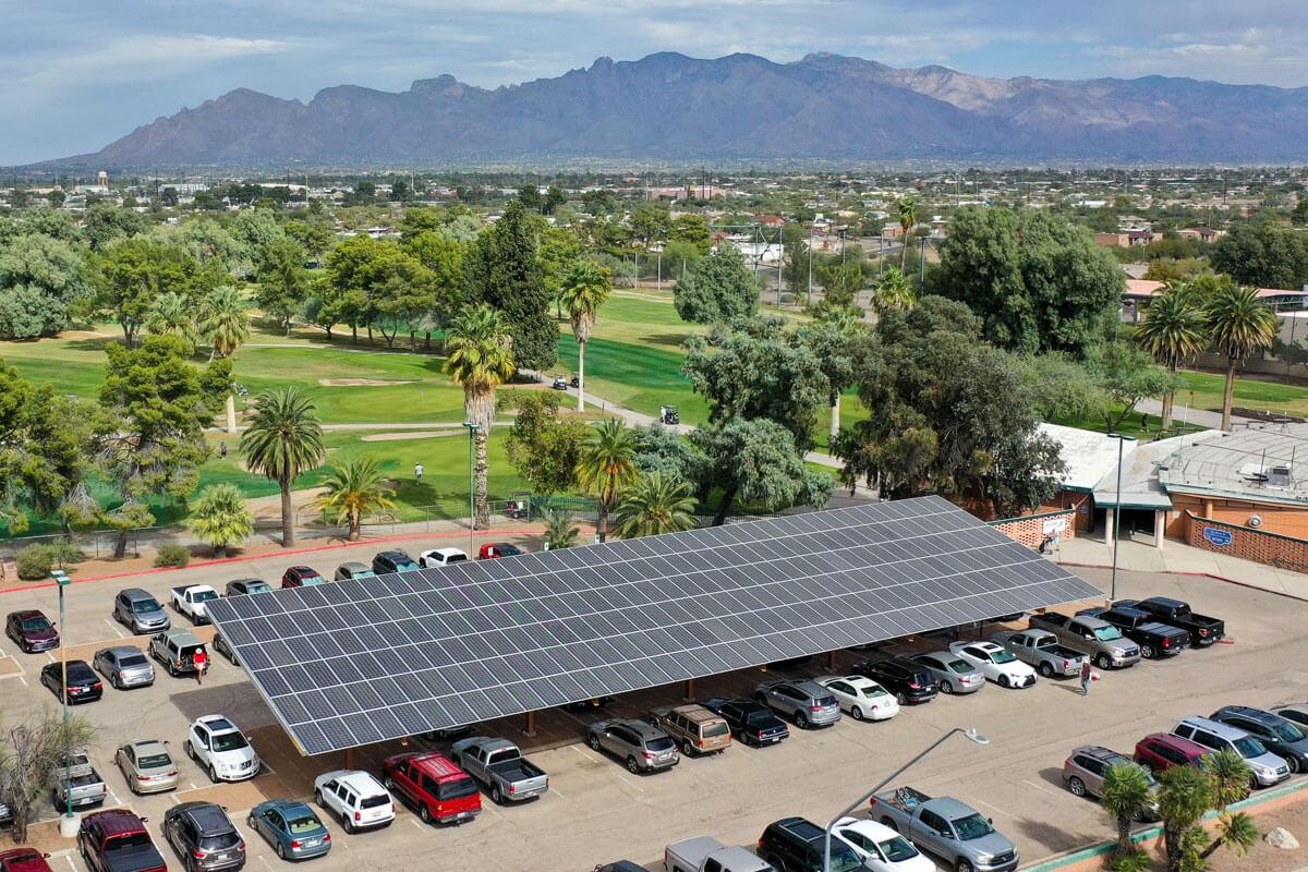 Solar Parking Canopy at El Rio Golf Course in Tucson