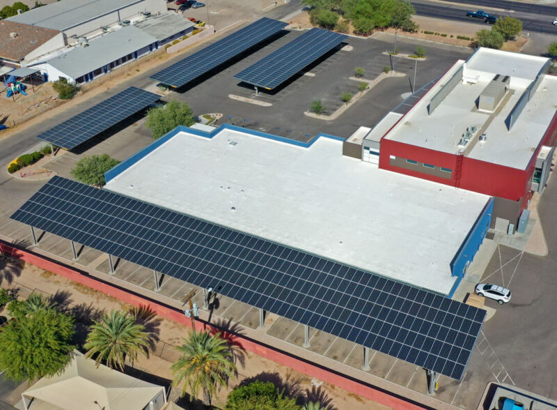 Solar Parking Canopies at El Rio Health Southeast Clinic